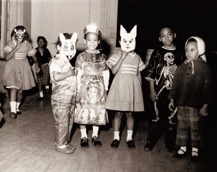 Children at a Halloween party (possibly at the Annie Malone home), 1968.